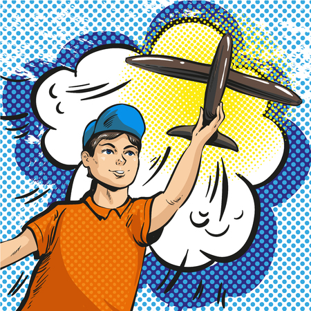 A Vector pop art illustration of young boy launching rc plane Illustration