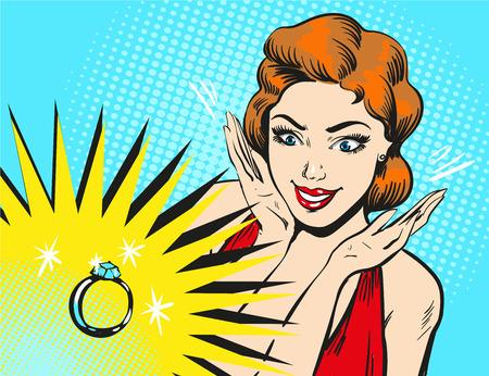 Ilustracja wektorowa sztuki pop kobiety patrząc na pierścionek zaręczynowy.