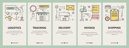 Vector dunne lijn platte ontwerp e-commerce concept verticale banners