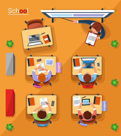 notebook: Vector top view school concept illustration in flat style. Illustration