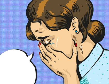 Vector pop art illustration of crying woman