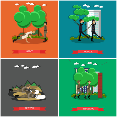 Vector set of military square posters in flat style