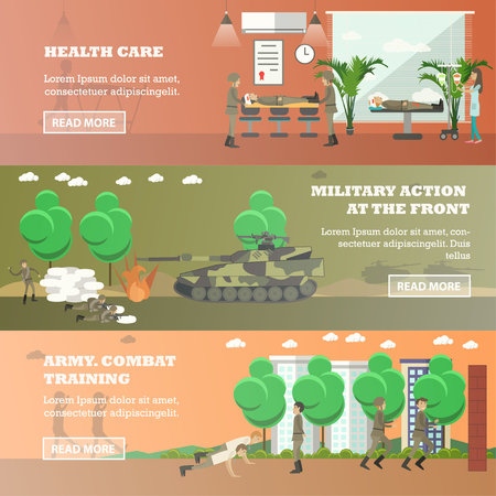 trooper: Vector set of military horizontal banners in flat style Illustration