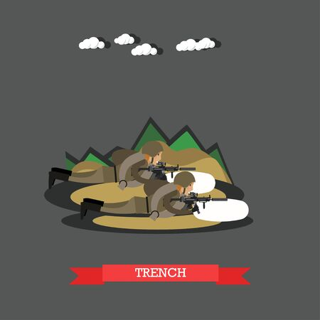 Vector illustration of two soldiers with shotguns in military uniform lying in trench. Flat style design. Stock Photo