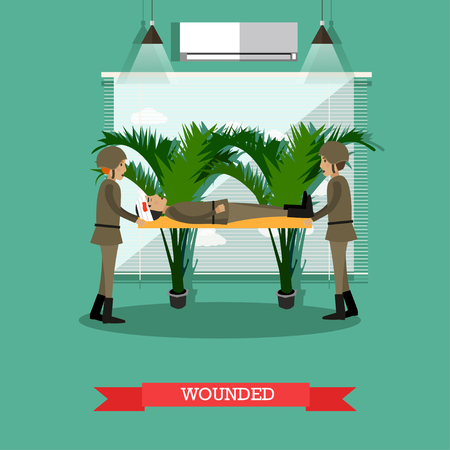 Vector illustration of two soldiers carrying stretchers with wounded fighter. Flat style design.