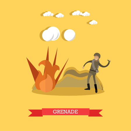 Vector illustration of soldier throwing hand grenade on battlefield. Flat style design element.