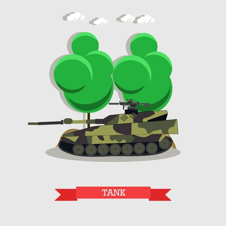 Vector illustration of armored fighting vehicle, military transportation. Tank concept design element in flat style.
