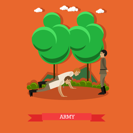 Vector illustration of two soldiers doing push-ups. Army concept design element in flat style.