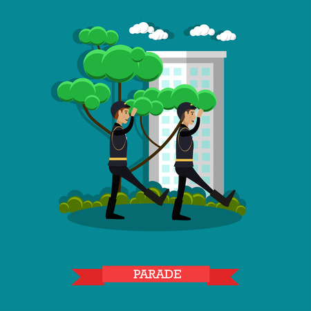 Vector illustration of soldiers marching in military uniform. Army parade concept design element in flat style.