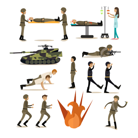 Vector icons set of military people and equipment isolated on white background. Flat style design elements.
