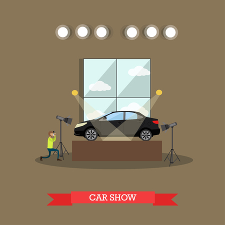 auto service: Car show concept vector illustration in flat style