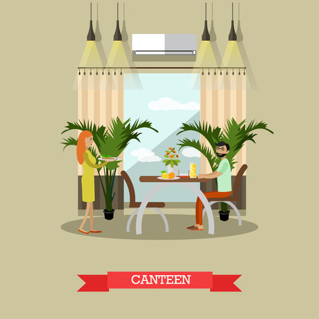 modern house: Canteen vector Illustration in flat style