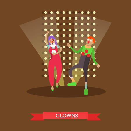 stage costume: Vector illustration of clowns in circus performance in flat style Illustration