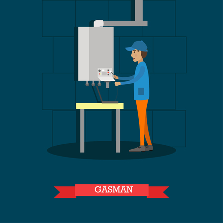 boiling tube: Gasman concept vector illustration in flat style