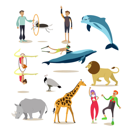 bottlenose: Vector icons set of dolphinarium, circus and zoo cartoon characters isolated on white background. Flat style design elements.