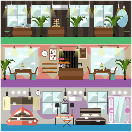 Jewelry Shop, Bakery And Furniture Store Concept Flat Style Design Elements.