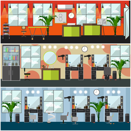 Vector set of barbershop, hair salon, tattoo studio interior posters, banners. Flat style design elements. Illustration