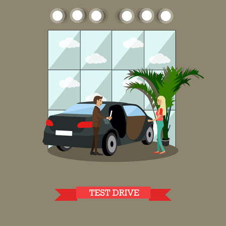 happy woman: Test drive concept vector illustration. Young lady passing her test drive with instructor. Driving school flat style design element.
