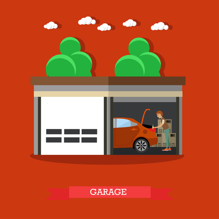 Vector illustration of man repairing car or carrying out car check in garage. Home garage flat style design element.