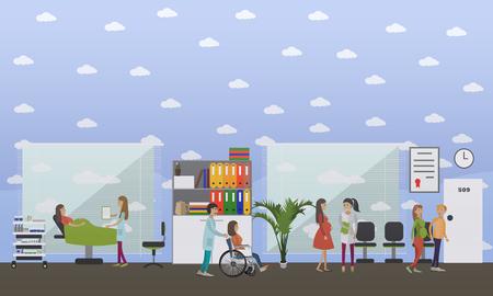Vectorillustratie van artsen gynaecologen vrouwtjes raadpleging van hun zwangere patiënten. Medische werknemer verpleegster mannelijke dragende vrouw in rolstoel. Kraamhospitaal concept vlakke stijl ontwerpelement.