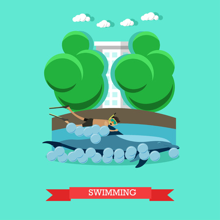surprisingly: Swimming with dolphin vector illustration in flat style. Illustration