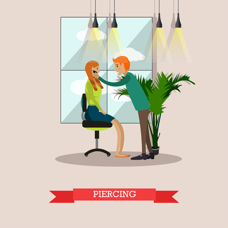 Vector illustration of professional body piercer performing piercing. Woman getting piercing flat style design element.