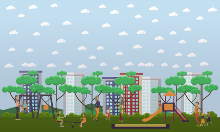Kindergarten playground concept vector illustration. Preschool teacher looking after kids swinging, sliding down the slide, playing in the playground. Flat style design. Illustration