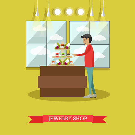 earrings: Vector illustration of young man looking at jewelry shop display case. Jewelry store concept flat style design element Illustration