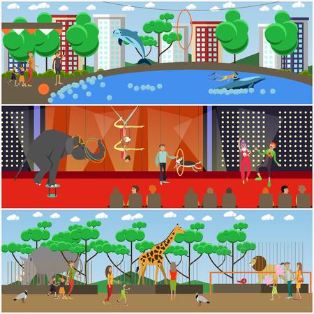 Векторный набор плакатов дельфинарий, цирк и зоопарк, баннеры. Животные зоопарка, обученные животные цирка и дельфинария. Воздушные акробаты и клоуны, выступающие на сцене. Элементы дизайна с плоским стилем.