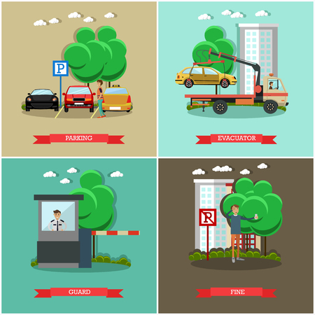 auto service: Vector set of car parking square posters. Parking, Evacuator, Guard and Fine flat style design elements.