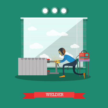 Vector illustration of worker assembling or repairing the heating system. Professional plumber welding copper pipes. Welder flat style design element.