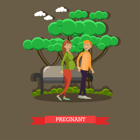 Vector illustration of happy family husband and his pregnant wife walking in the park holding hands. Pregnant woman future young mother flat style design element.