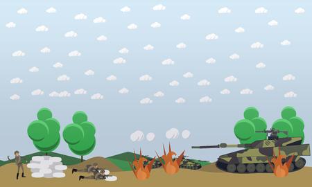 戦場の概念ベクトル イラスト。フロント フラット スタイルでの軍事行動はデザイン要素です。 写真素材 - 76356777