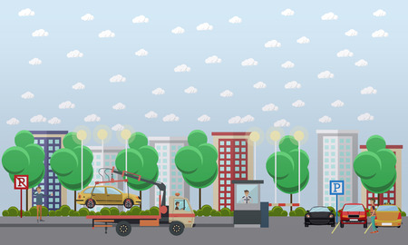 evacuating: Vector illustration of car park with parked automobiles, tow truck evacuating car, parking assistant in guard booth, driver receiving parking ticket. Flat style design elements. Illustration