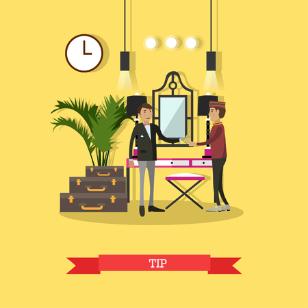 gratuity: Vector illustration of customer male giving tip to hotel porter for carrying his luggage. Tip concept flat style design element. Illustration
