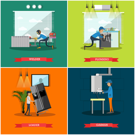 Vector set of workers profession square posters. Welder, Plumbing, Loader and Gasman flat style design elements.