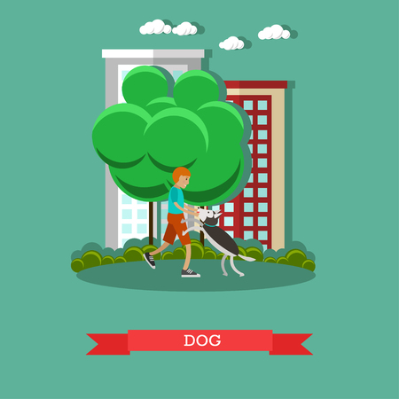 fondle: Vector illustration of boy playing with pet dog in the yard. Walking the dog flat style design element.