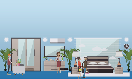 Hotel suite vector illustration in flat style