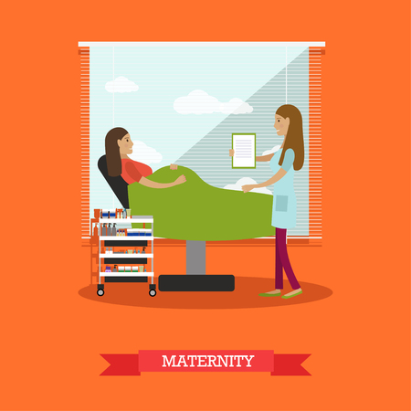Vector illustration of doctor female consulting her pregnant patient lying in gynaecological examination chair.