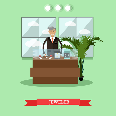 Vector illustration of jeweler standing at jewelry showcase. Goldsmith at jewelry workshop or store concept flat style design element. Illustration
