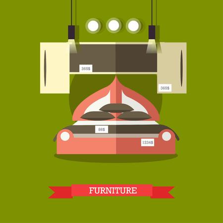 bedchamber: Vector illustration of furniture for bedroom. Furniture shop concept design element in flat style. Illustration