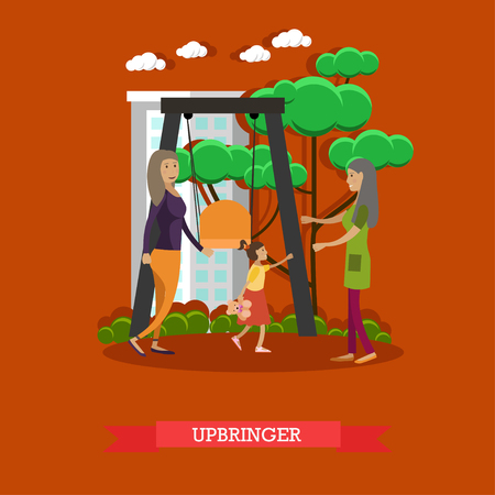 attending: Kindergarten upbringer concept vector illustration. Preschool teacher meeting girl, attending playschool, with her mother in playground in the morning. Flat style design.
