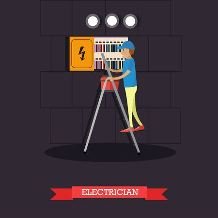 Vector illustration of electrician installing, maintaining or repairing electrical power, lighting system. Flat style design element. Фото со стока