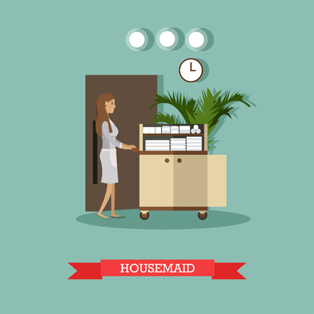 Hotel housemaid vector illustration. Cleaning lady or housekeeper pushing cart with clean bed linen and towels in flat style.