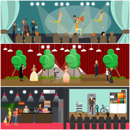 movie film: Vector set of opera art concept posters in flat style Illustration