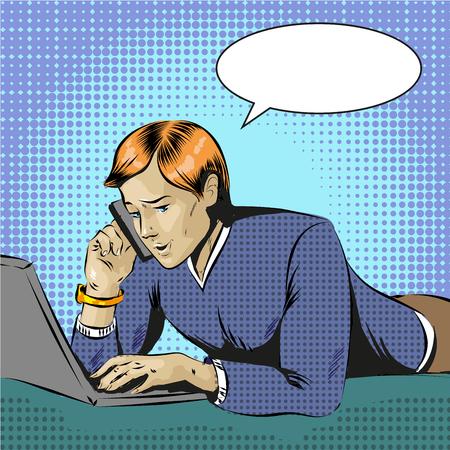 Vector pop art illustration of man using gadgets