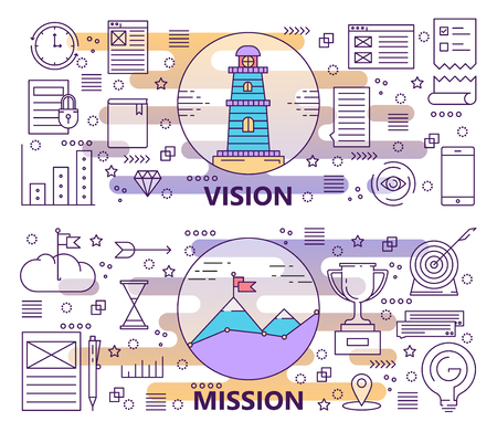 Vector set of modern thin line Vision and Mission banners