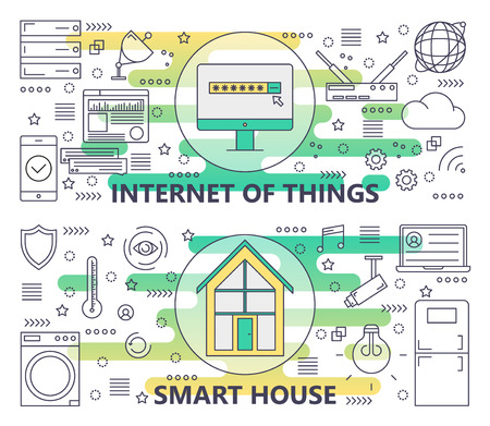 Vector thin line Internet of things and Smart House banners