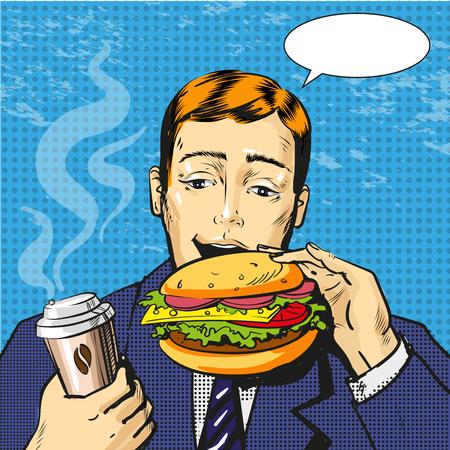 Vector pop art illustration of man eating burger