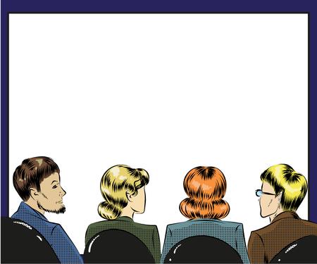 Vector pop art illustration of spectators in first row Illustration